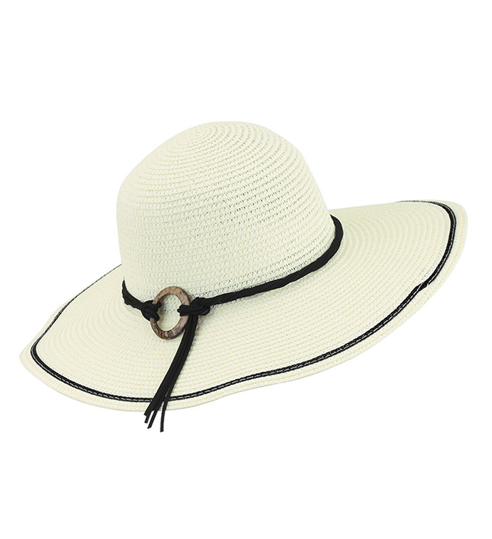 Cream Flat Brimmed Hat