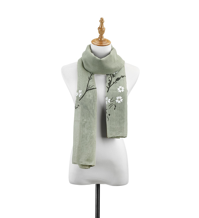 Green Flowering Branch Scarf