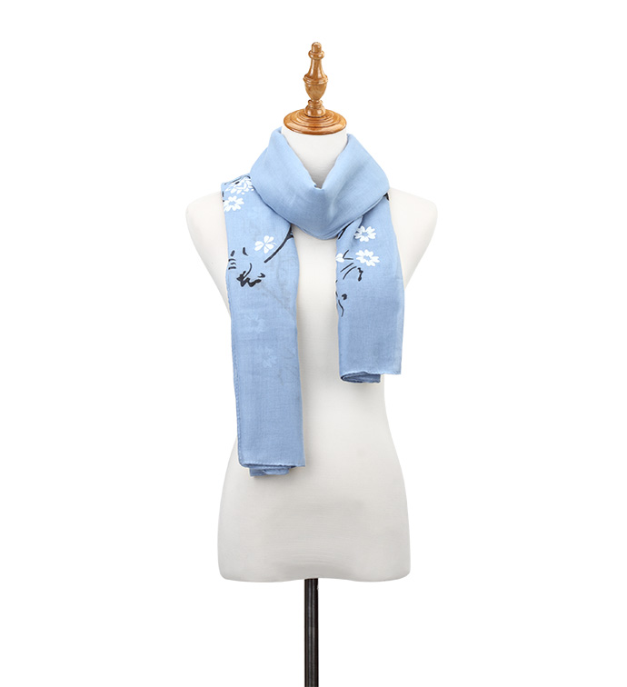 Blue Flowering Branch Scarf