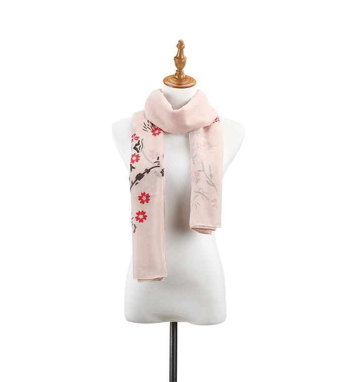 Peach Flowering Branch Scarf