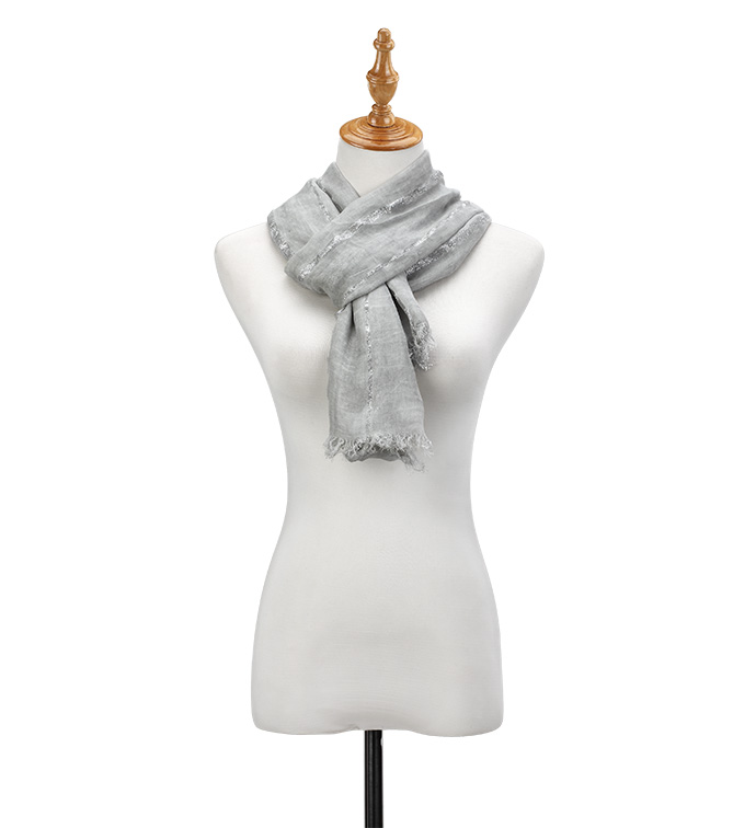 Grey Metallic Stripe Scarf