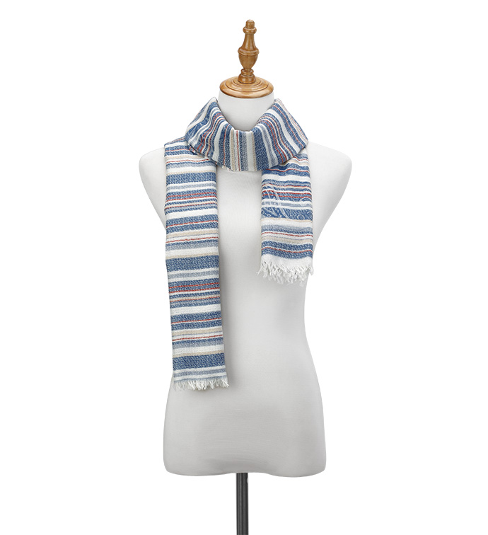 Blue Ticking Stripes Scarf