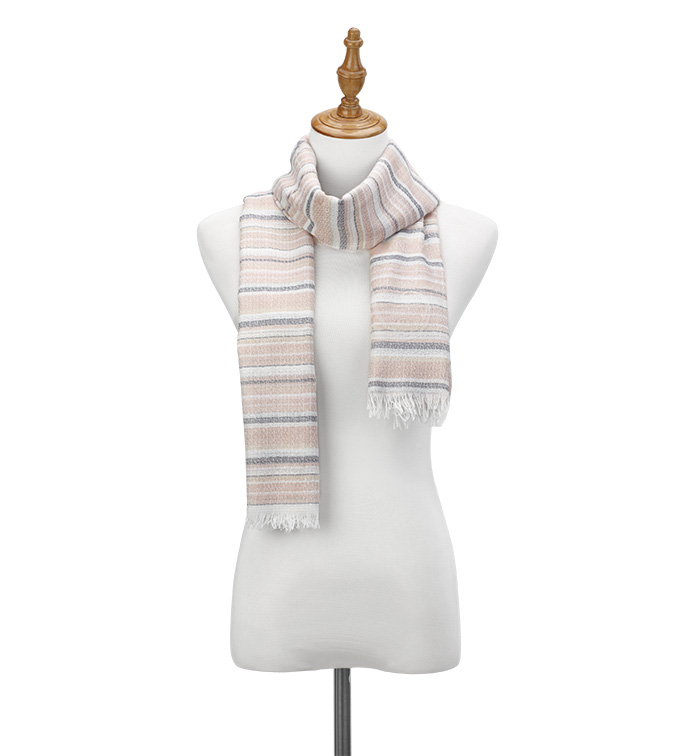Peach Ticking Stripes Scarf