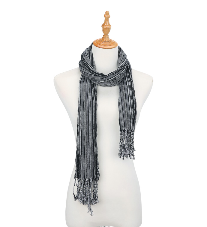 Black Micro Stripe Scarf