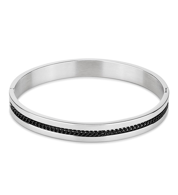 Silver Bangle with Black Chain
