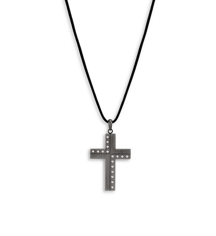 Gunmetal Rivets Cross Necklace