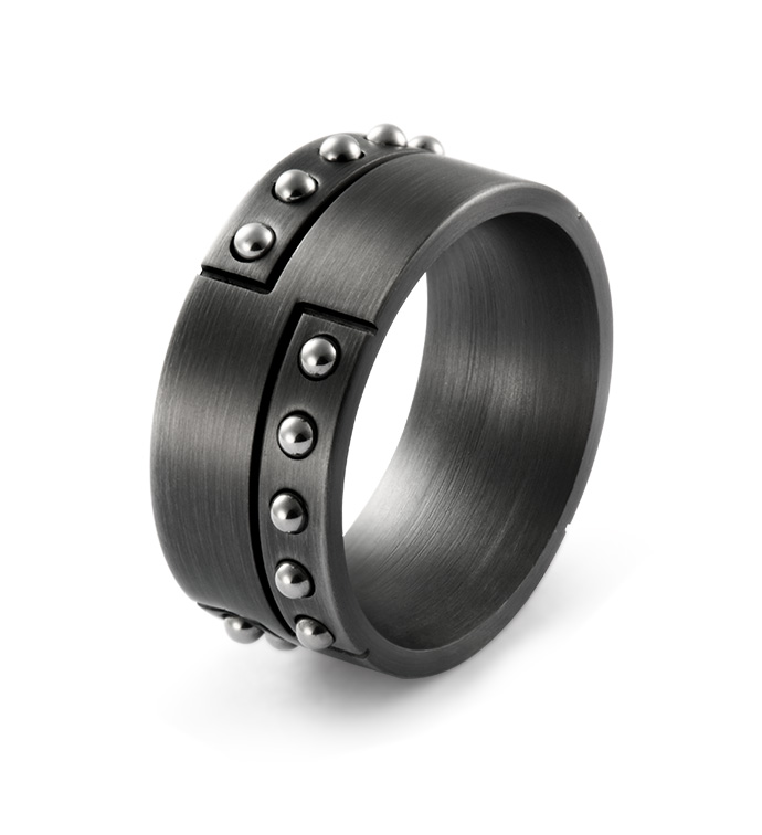 Gunmetal Rivets Ring