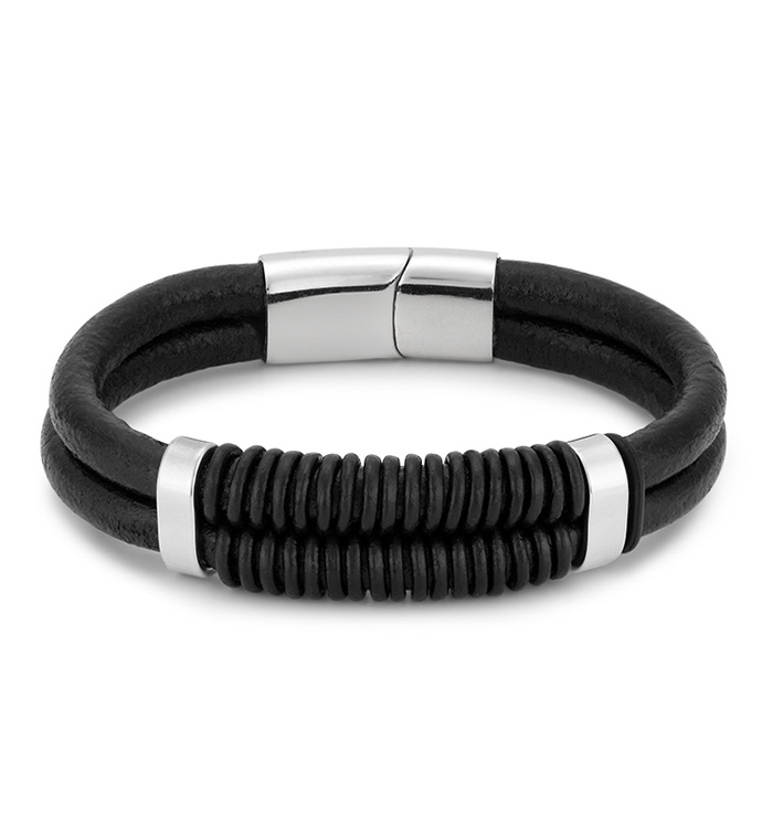 Black Leather Plaited Bracelet
