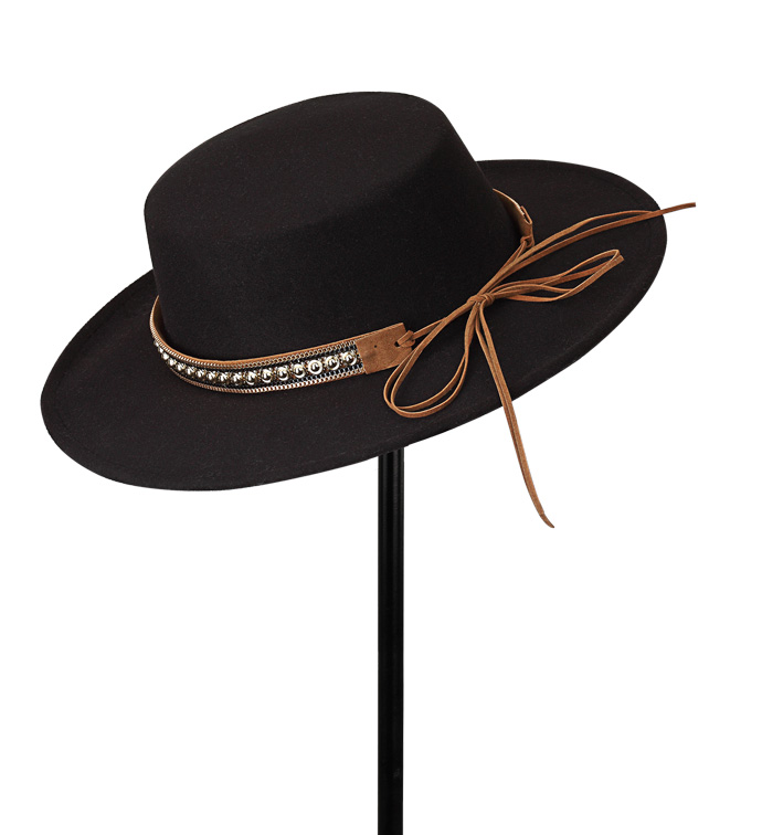 Black Gaucho Hat with Studded Belt