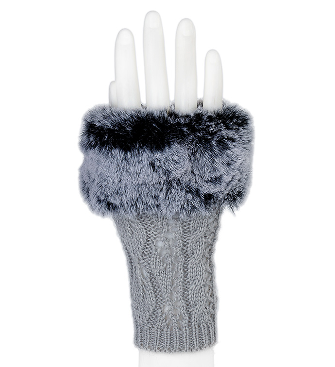 Grey Fingerless Glove with Fur Trim