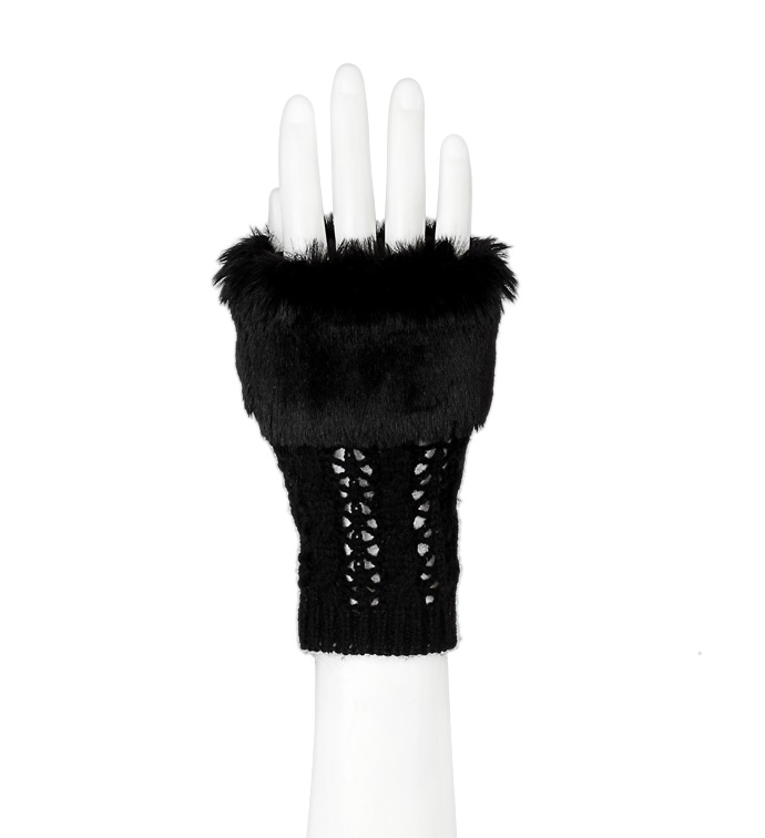 Black Fingerless Glove with Fur Tri