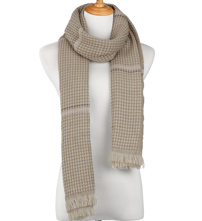Beige Glen Plaid Scarf Wrap
