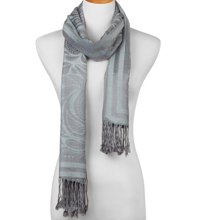 Silver Paisley Fringed Scarf