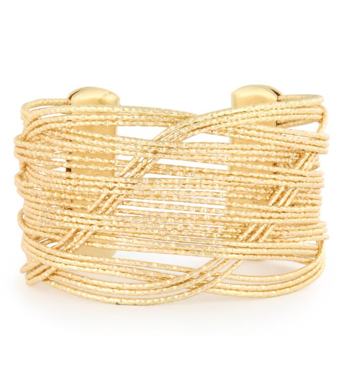 Gold Woven Wire Cuff Bracelet