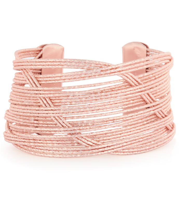 Rose Gold Woven Wire Cuff Bracelet