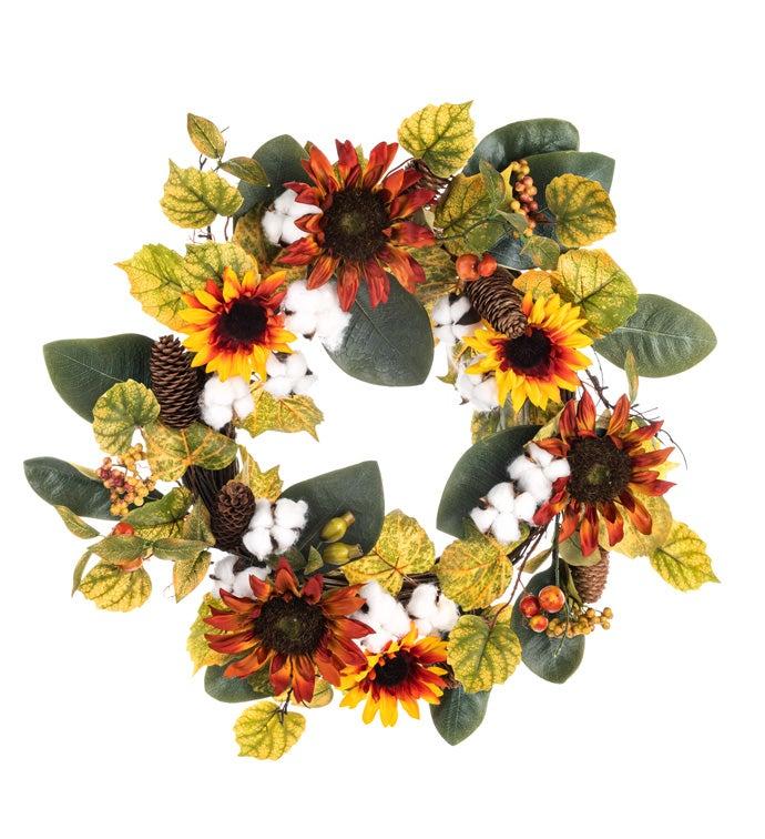 Sunflower/Cotton Wreath