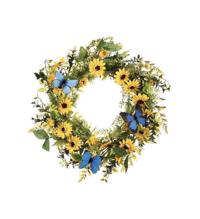 Yellow Daisy/Butterfly Wreath
