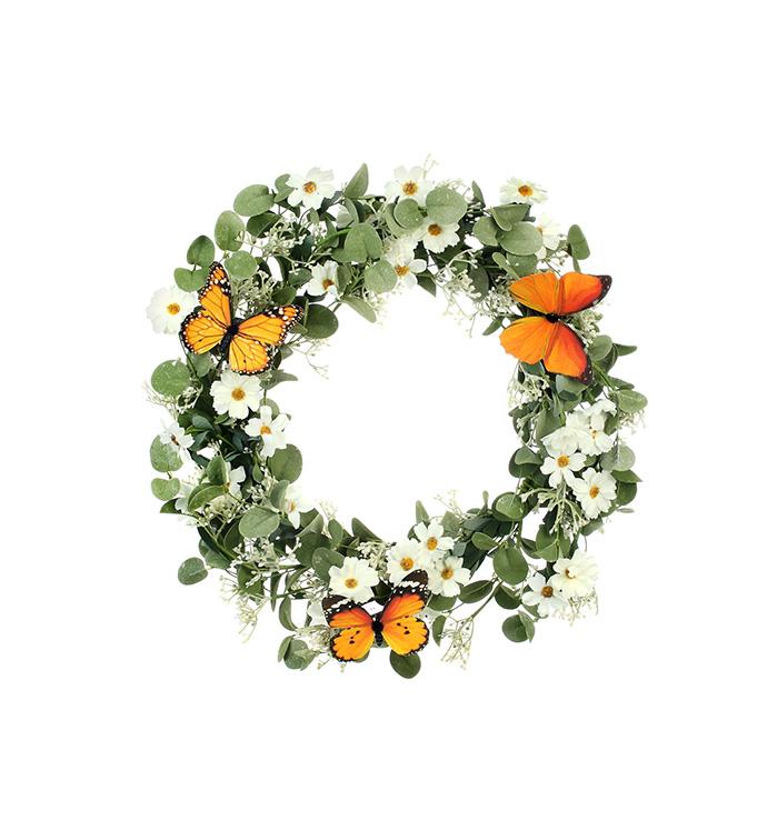 White Daisy/Butterfly Wreath