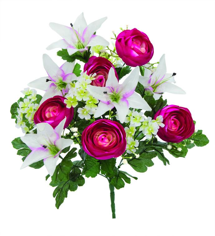 """21"""" Ranunculus & Lily Bush Fushcia/"""