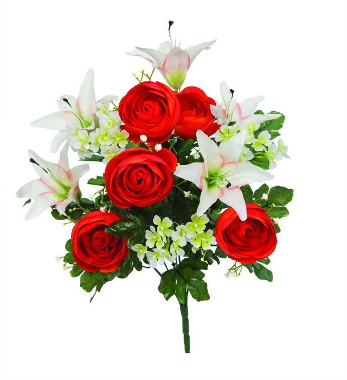 "21"" Ranunculus & Lily Bush Orange/C"