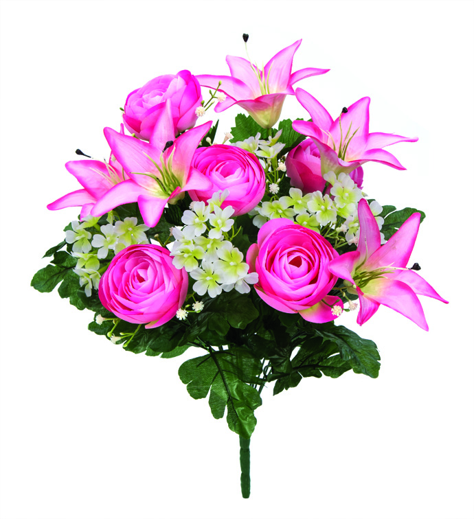 "21"" Ranunculus & Lily Bush Pink"