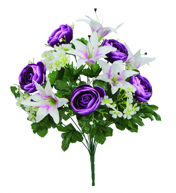 "21"" Ranunculus & Lily Bush Purple/W"