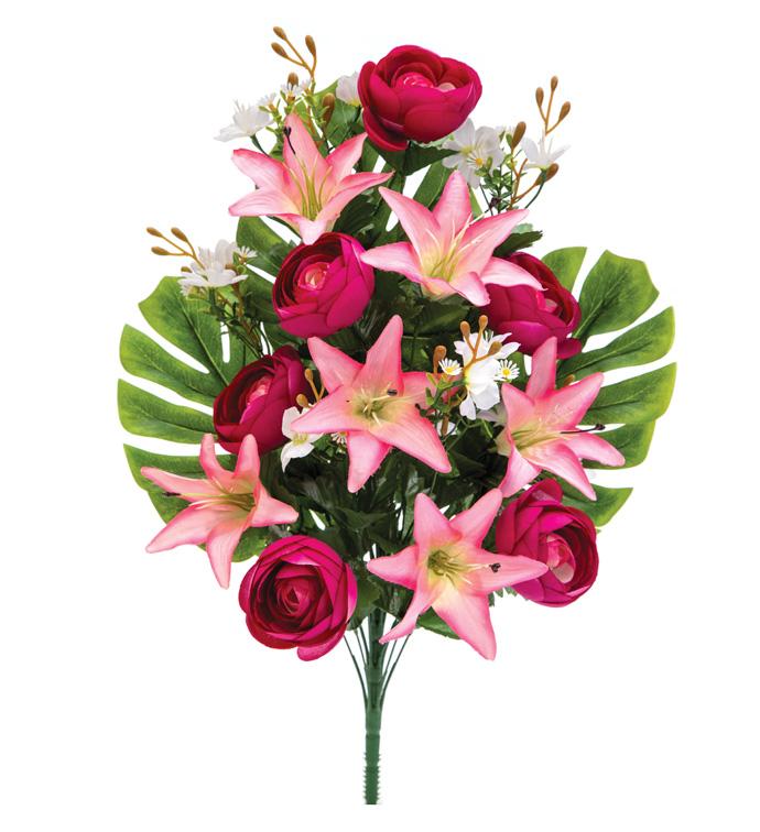 Pink/Fuschia Lily/Rose 1/2 Bus