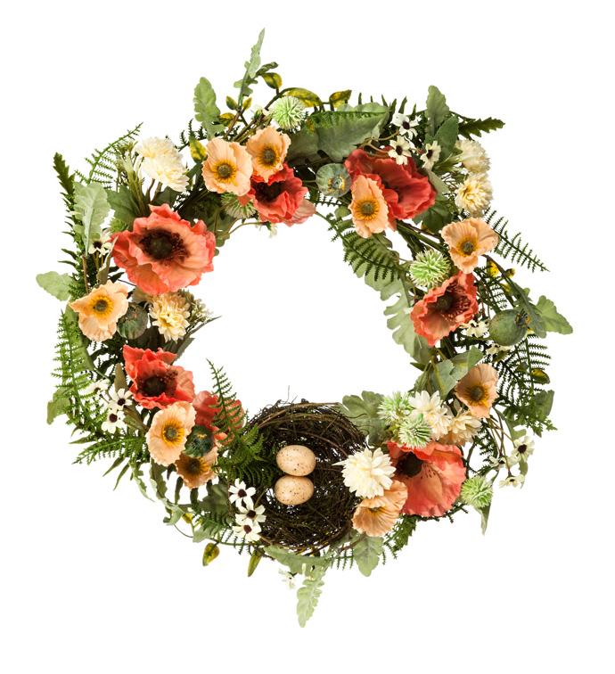 Orange Poppy/Nest Wreath