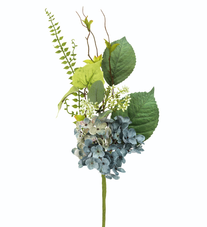 Vintage Blue Hydrangea Pick